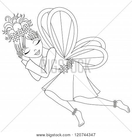 Cute fairy in dress with wings is sleeping