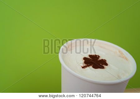 Take Away Cup With Shamrock Symbol