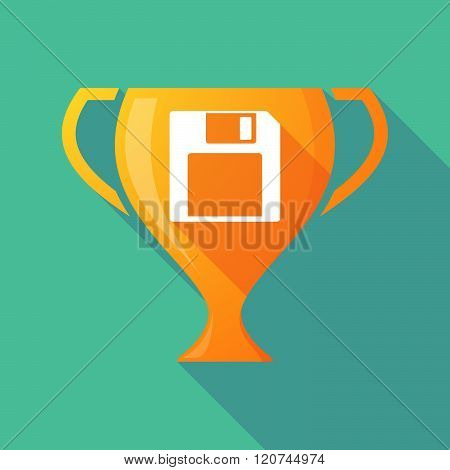 Long Shadow Trophy Icon With A Floppy Disk