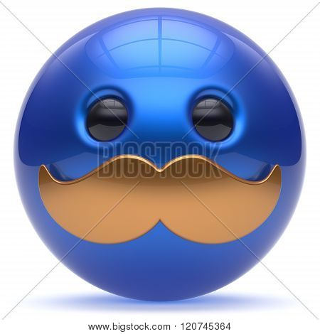Smiling face cartoon cute mustache emoticon ball happy joyful handsome person blue golden caricature icon. Cheerful laughing fun sphere positive smiley character avatar. 3d render