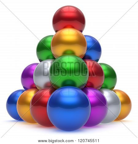 Pyramid hierarchy corporation sphere ball red top order leadership element teamwork stable group business concept multicolor different colors colorful shiny sparkling icon. 3d render isolated