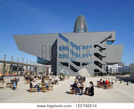 Placa de les Glories Catalanes with Disseny Design Museum of Barcelona and Torre Agbar