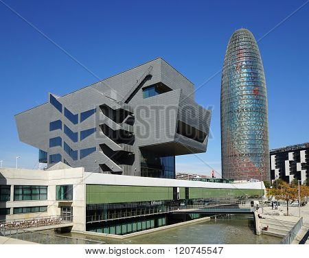 Disseny Design Museum and Torre Agbar in Barcelona