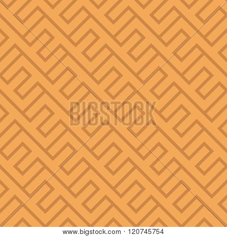 Seamless Vintage Geometric Pattern. Ethnic Vector Diagonal Background. Orange And Brown Texture