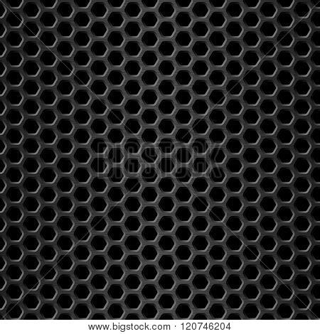 Honeycomb Background Black Metal Texture Vector Illustration Geometric Pattern Of Hexagons
