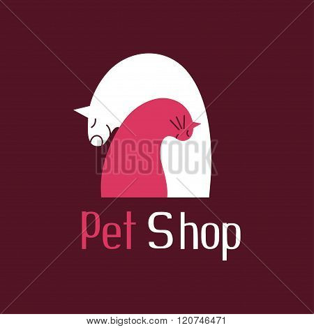 Cat and dog best friends, sign for pet shop logo