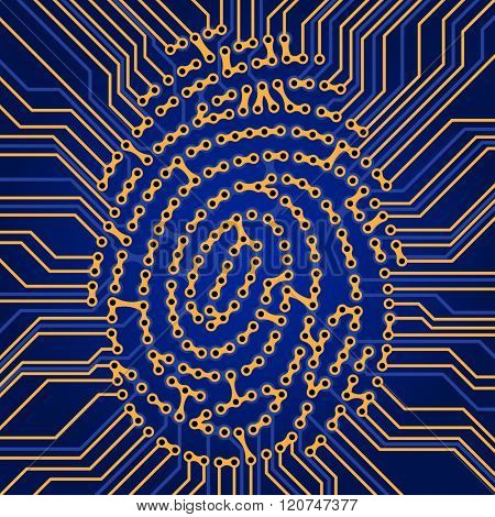 Fingerprint Identification System. Finger print Scanning Technology. Fingerprint Searching Software. Identity Check. Vector Electronics Scheme background