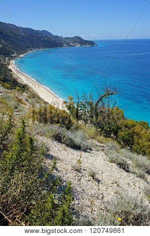 Amazing panorama of Kokkinos Vrachos Beach, Lefkada, Greece
