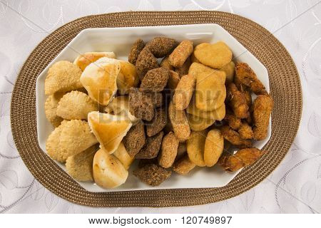 Mixed Brazilian Snack On The Table.