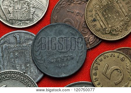 Coins of the Netherlands. Dutch 10 cent coin (1941).