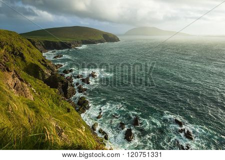 Scenic View Over West Coast Of Ireland On Dingle Peninsula County Kerry