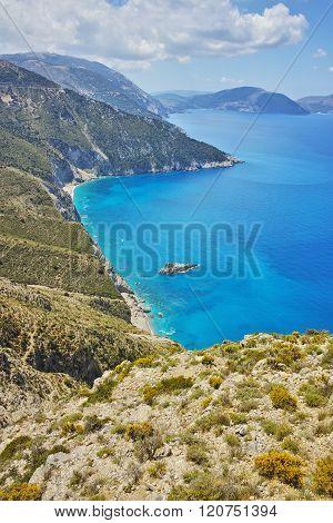Amazing panorama of mountains and coastline of Kefalonia, Greece