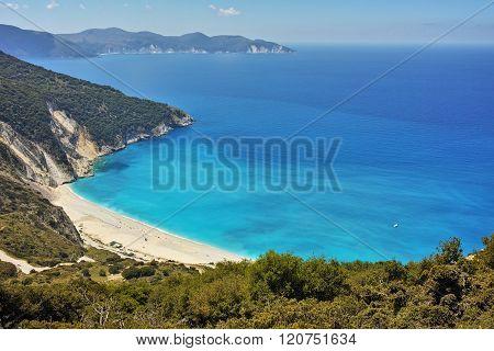 View of beautiful Myrtos bay road to beach, Kefalonia, Greece