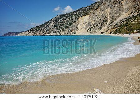 Blue water of beautiful Myrtos beach, Kefalonia, Greece