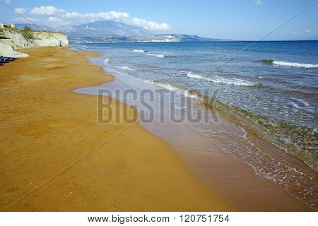 amazing view of Xi Beach, beach with red sand in Kefalonia, Greece