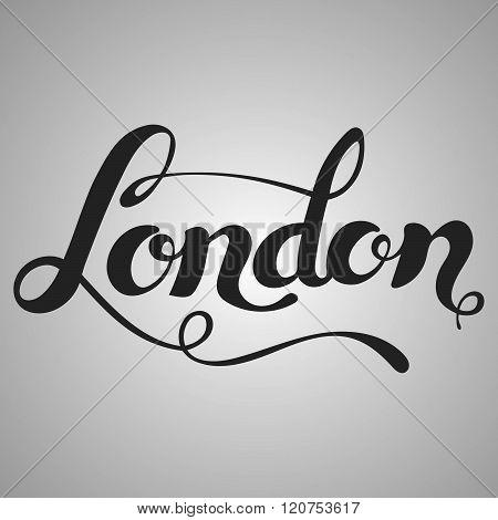 London lettering. Hand written London. Modern hand lettering.