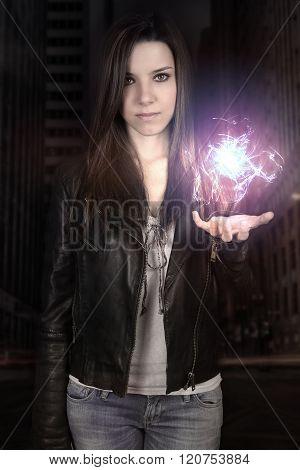 young woman making a fireball