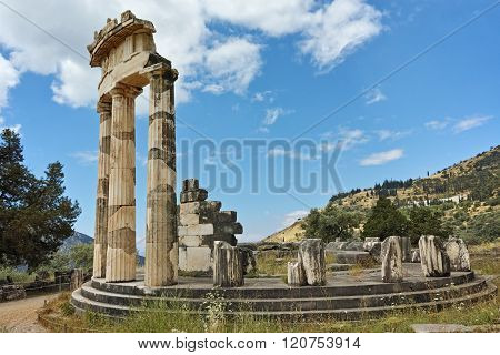 Panoramic view of Athena Pronaia Sanctuary at Delphi, Greece