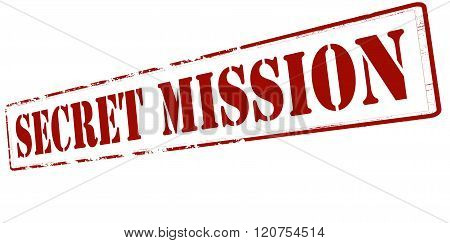 Rubber stamp with text secret mission inside vector illustration