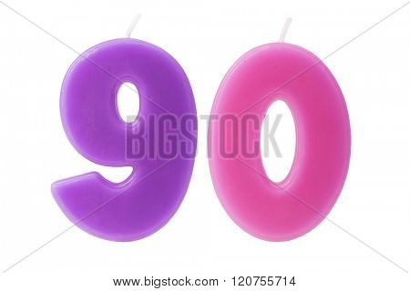 Colorful birthday candles in the form of the number 90 on white background