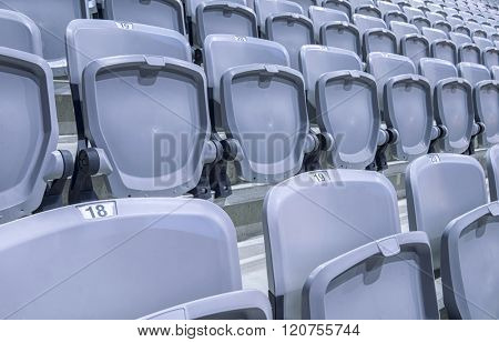Rows of stadium seats ready in a new facility