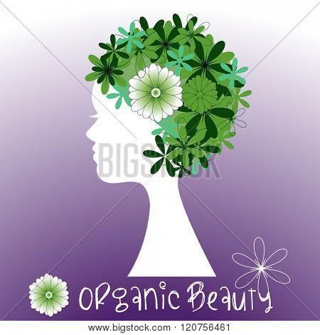 Woman profile flowers - organic beauty concept
