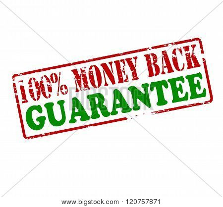 Rubber stamp with text one hundred percent money back guarantee inside vector illustration