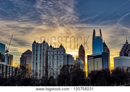 Downtown Atlanta sunset with buildings in the foreground