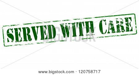 Rubber stamp with text served with care inside vector illustration