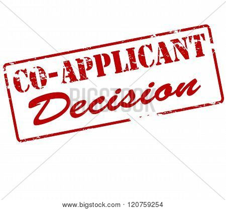 Rubber stamp with text co applicant decision inside vector illustration