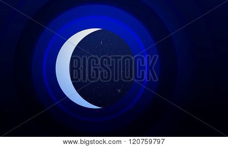 Abstract Background Is Mimicking The Telescope Staring At The Starry Sky And The Crescent.vector