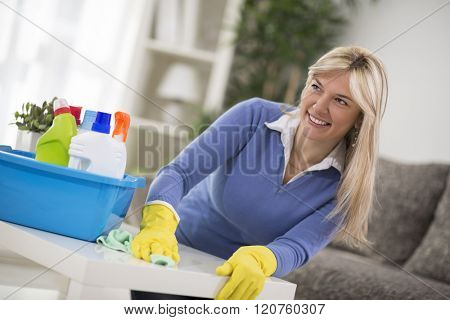 Good looking housewife cleans house