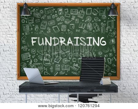 Chalkboard on the Office Wall with Fundraising Concept.