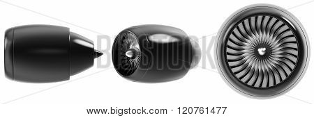 Jet engine set isolated on white background.