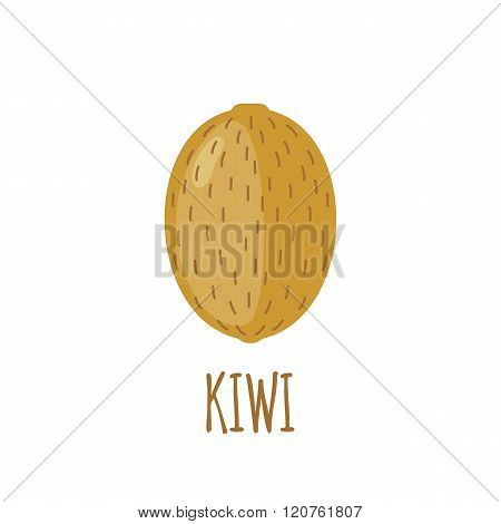 Kiwi icon in flat style on white background