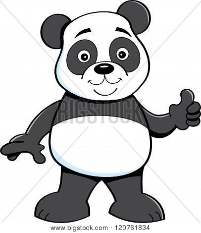 Cartoon panda bear giving thumbs up.