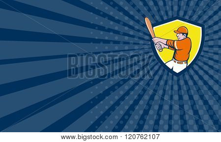 Business Card Baseball Player Batter Swinging Bat Crest Cartoon