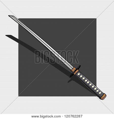 National Japanese katana weapon against a dark background