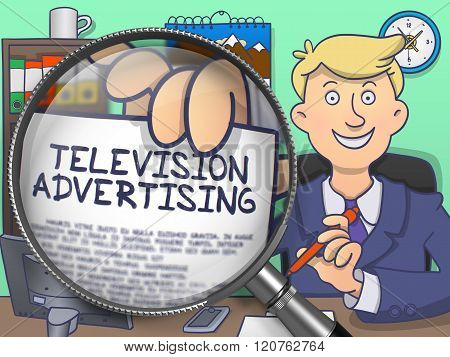 Television Advertising through Magnifier. Doodle Design.