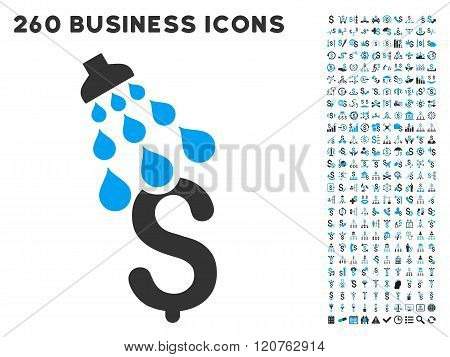 Money Shower Icon with Flat Glyph Set