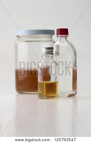 Solvents , oils, and spirits used for paint, painting, and wood finishing.  Isolated on natural white background.