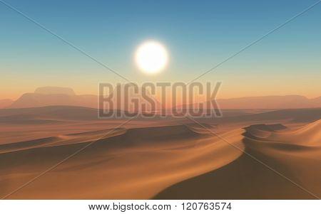 3D render of an arid desert scene