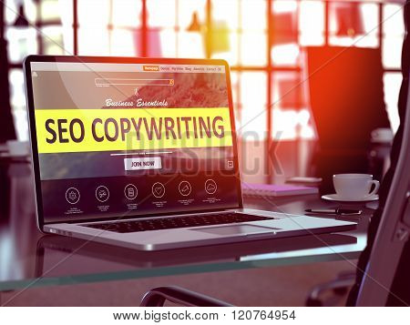 Laptop Screen with SEO Copywriting Concept.