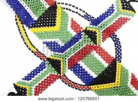 Threaded Beadwork In The Colors Of The South African Flag