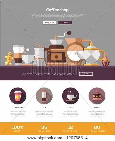 Coffee shop, cafe bakery website template with header and icons