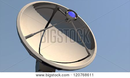 Radio Telescope Antenna Observatory Array, Dish Under Clean Blue Daytime Sky