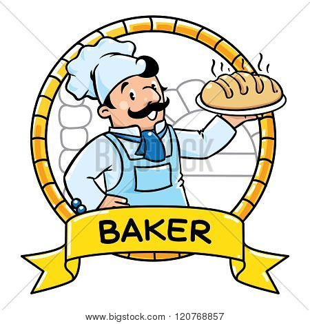 Funny cook or baker. Emblem. Profession ABC series