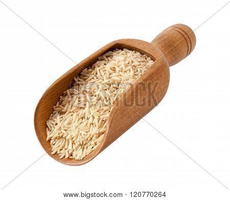 Brown Basmati Wild Rice In A Wooden Scoop