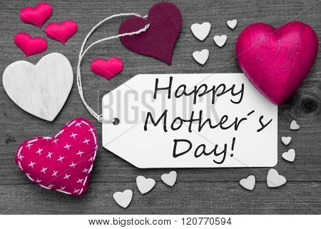 Black And White Label, Pink Hearts, Text Happy Mothers Day