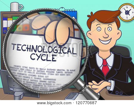 Technological Cycle through Magnifying Glass. Doodle Concept.